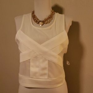 Silence and noise mesh stretch crop top. Sz Lrg